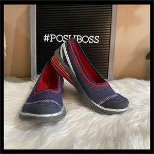 Bzees Patriotic Red, White, and Blue Wedge Shoes